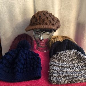 Six gently used knit/winter hats.